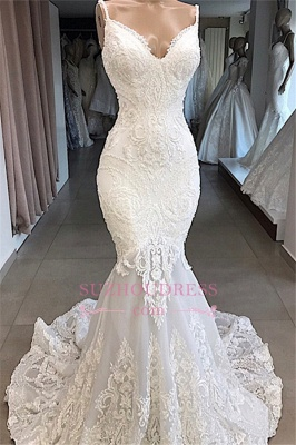 Mermaid Appliques Beautiful Spaghetti-Straps Lace Wedding Dresses_1