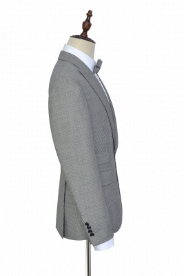 Small Grid Leisure Tailored Grey Mens Suit | Slim Fit One Button Cheap Formal Suits for Men (Blazer Pants)_4
