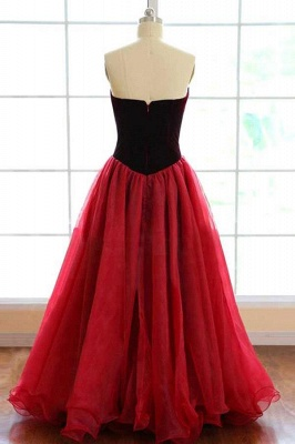 Sweatheart Puffy Tulle Burgundy Prom Dress 2020 | New Arrival Sexy Velvet Formal Evening Dress_3
