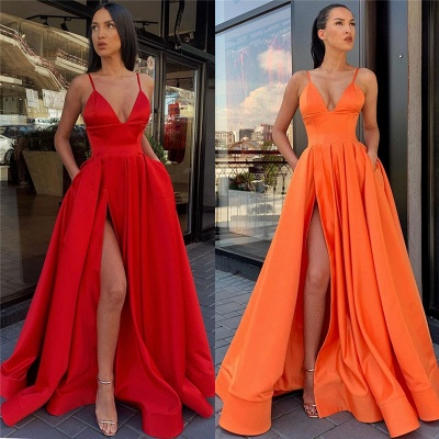 Spaghetti Straps Sexy Evening Gowns with Slit | Sleeveless Open Back Cheap Formal Dresses_4