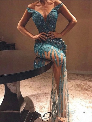 Off The Shoulder Sequins See Through Evening Dresses | 2020 Sexy Prom Dresses with Crystals FB0364_1