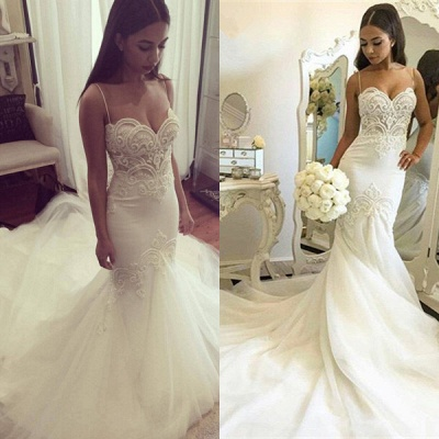 Grgeous Spaghetti-Straps Lace Wedding Dress Mermaid Long Tulle Bridal Gowns_4
