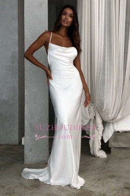 Back Sexy Spaghetti-Straps Open Sheath Wedding Dresses_4