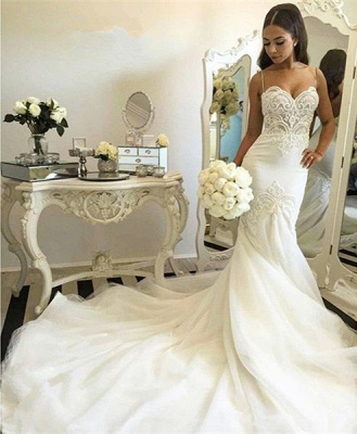 Grgeous Spaghetti-Straps Lace Wedding Dress Mermaid Long Tulle Bridal Gowns_5