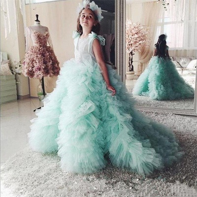 Princess Tiered Ruffles Tulle Girls Pageant Dresses | Bowknot Green Ball Gown Flower Girls Dresses_3