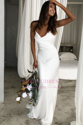 Back Sexy Spaghetti-Straps Open Sheath Wedding Dresses_3
