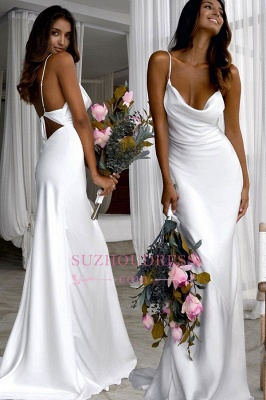 Back Sexy Spaghetti-Straps Open Sheath Wedding Dresses_2