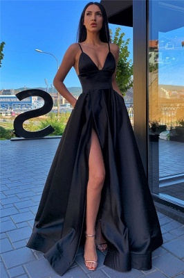 Spaghetti Straps Sexy Evening Gowns with Slit | Sleeveless Open Back Cheap Formal Dresses_2