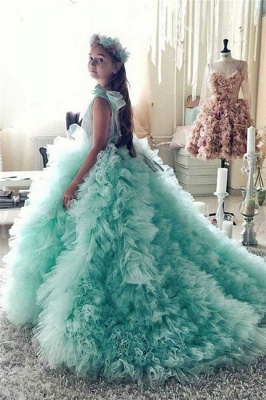 Princess Tiered Ruffles Tulle Girls Pageant Dresses | Bowknot Green Ball Gown Flower Girls Dresses