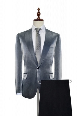 Shiny Silver Grey Custom Mens Suit Cheap | Slim Fit One Button Two Pockets with Flap Suits for Men (Blazer Pants)_2