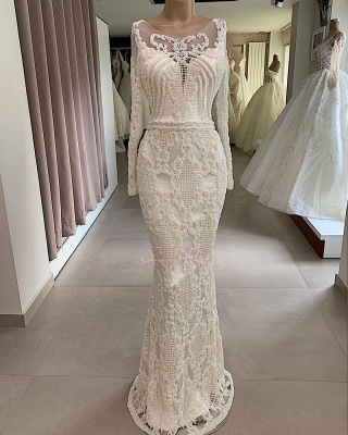 Appliques Long-Sleeves Mermaid Jewel Attractive Wedding Dresses_3