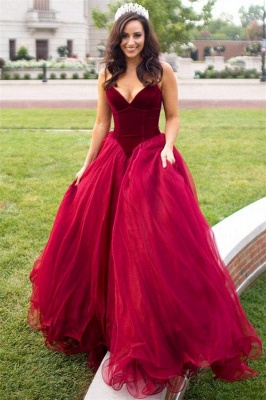 Sweatheart Puffy Tulle Burgundy Prom Dress 2020 | New Arrival Sexy Velvet Formal Evening Dress_2