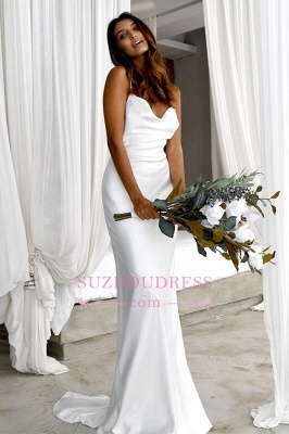 Back Sexy Spaghetti-Straps Open Sheath Wedding Dresses_1
