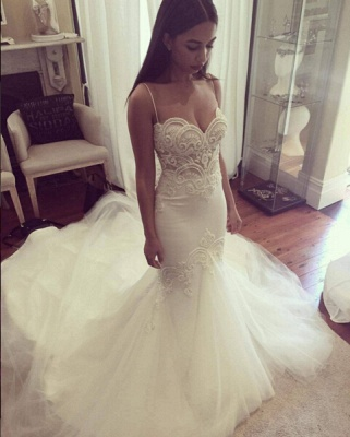 Grgeous Spaghetti-Straps Lace Wedding Dress Mermaid Long Tulle Bridal Gowns_3
