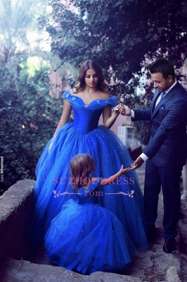 Floor Length Royal Blue Lovely Girls Pageant Dresses 2020 Tulle Off-the-Shoulder Flower Girl Dresss BA3927_2