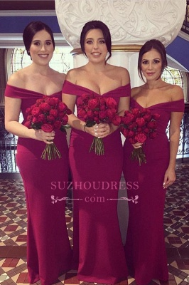 Sexy Off-the-shoulder V-neck Sheath Bridesmaid Dresses_1