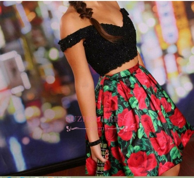 Off-the-Shoulder Black Two-Piece Lace-Beaded Floral Homecoming Dresses_3