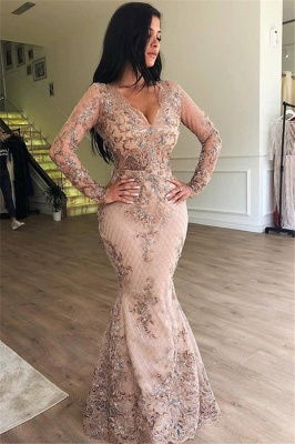 Elegant V-Neck Long Sleeves Tulle Evening Dresses | Sexy Mermaid Appliques Prom Dresses with Detachable Skirt BC0179_2