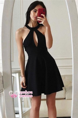 A-line Short Sleeveless Halter Little Black Dresses_1