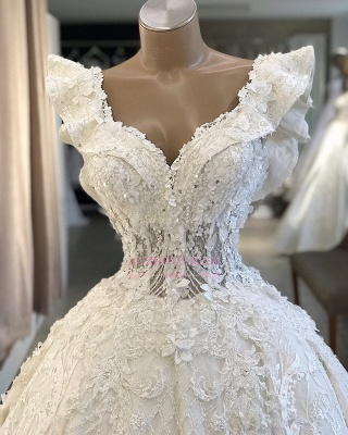 V-neck Wonderful Appliques Ball-Gown Wedding Dresses_2