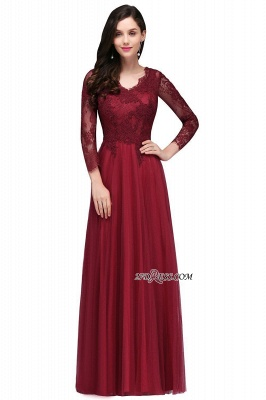 A-line Burgundy Floor-Length V-Neck Long-Sleeves Prom Dresses_4