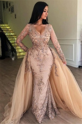 Elegant V-Neck Long Sleeves Tulle Evening Dresses | Sexy Mermaid Appliques Prom Dresses with Detachable Skirt BC0179_1