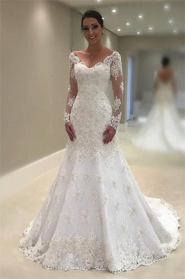 Elegant Tulle Long Sleeves Wedding Dresses 2020 | V-Neck Mermaid Appliques Bridal Gown_1