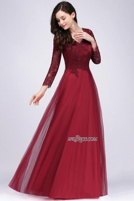 A-line Burgundy Floor-Length V-Neck Long-Sleeves Prom Dresses_5