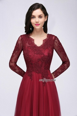 A-line Burgundy Floor-Length V-Neck Long-Sleeves Prom Dresses_7