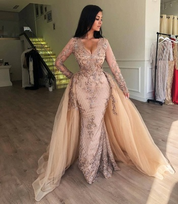 Elegant V-Neck Long Sleeves Tulle Evening Dresses | Sexy Mermaid Appliques Prom Dresses with Detachable Skirt BC0179_3