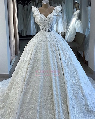 V-neck Wonderful Appliques Ball-Gown Wedding Dresses_3