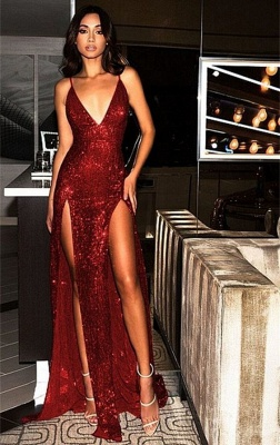 Cheap Sequins Sexy Side Slit Evening Dresses | 2020 Long Spaghetti Straps Backless Prom Dresses_1