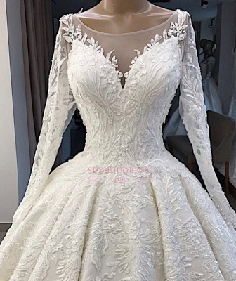 Ball-Gown Long-Sleeves Scoop Alluring Appliques Wedding Dresses_2