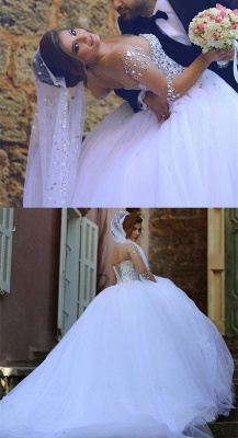 Sheer Sweetheart Crystal Ball Gown Wedding Dresses Lace-up Long Sleeve Tulle Beautiful Wedding Princess Dress MH001_3