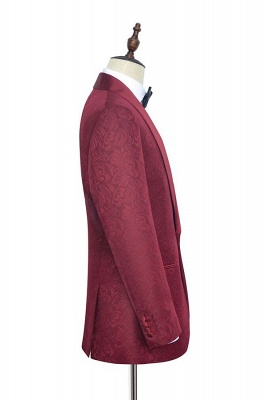 Jacquard Custom Dark Red Suit for Men at Prom | Shawl Lapel  Burgundy Wedding Suits (Blazer Pants)_3