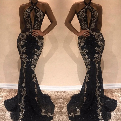 Halter Sleeveless Sexy Evening Dresses 2020 | Black Shiny Keyhole Prom Dress with Lace Appliques_3