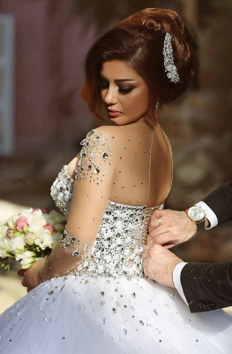 Sheer Sweetheart Crystal Ball Gown Wedding Dresses Lace-up Long Sleeve Tulle Beautiful Wedding Princess Dress MH001_2
