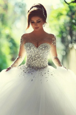 Sheer Sweetheart Crystal Ball Gown Wedding Dresses Lace-up Long Sleeve Tulle Beautiful Wedding Princess Dress MH001_1