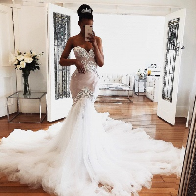 Sweetheart Mermaid Tulle Wedding Dresses Cheap   Sexy Sleeveless Lace Appliques Bridal Gowns 2020_3