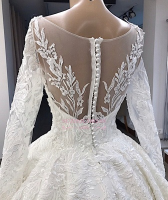 Ball-Gown Long-Sleeves Scoop Alluring Appliques Wedding Dresses_3