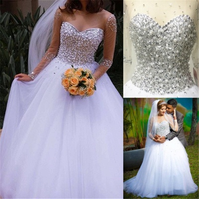 Sheer Sweetheart Crystal Ball Gown Wedding Dresses Lace-up Long Sleeve Tulle Beautiful Wedding Princess Dress MH001_6