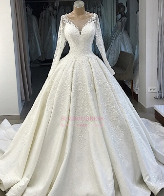 Ball-Gown Long-Sleeves Scoop Alluring Appliques Wedding Dresses_4