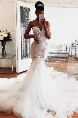 Sweetheart Mermaid Tulle Wedding Dresses Cheap   Sexy Sleeveless Lace Appliques Bridal Gowns 2020_1