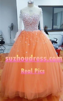 Sheer Sweetheart Crystal Ball Gown Wedding Dresses Lace-up Long Sleeve Tulle Beautiful Wedding Princess Dress MH001_5