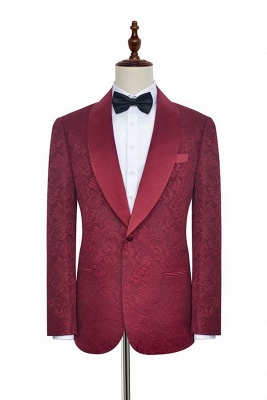 Jacquard Custom Dark Red Suit for Men at Prom | Shawl Lapel  Burgundy Wedding Suits (Blazer Pants)_1